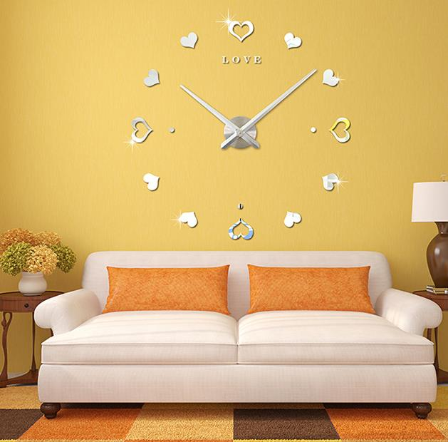 Amazon Hot Cake Creative Acrylic Heart Shape Modern Simple DIY Wall Clock