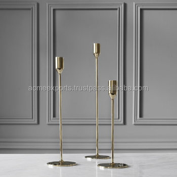 Brass Candle Holder With Set of 3 pieces with different types of candle holders