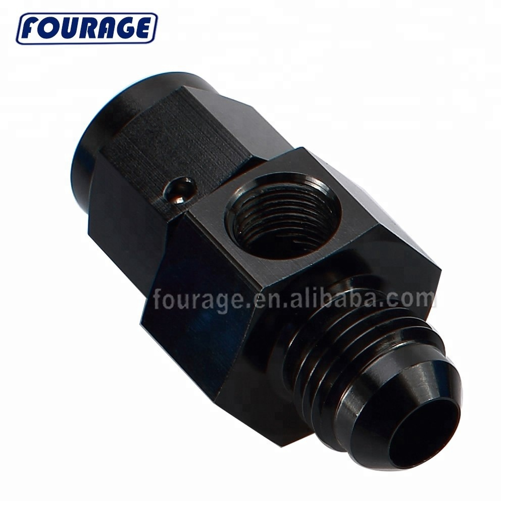 AN8 Male Flare Union Aluminum Fuel Pressure Take Off 1//8 NPT Sensor Fitting Black 8AN Male to
