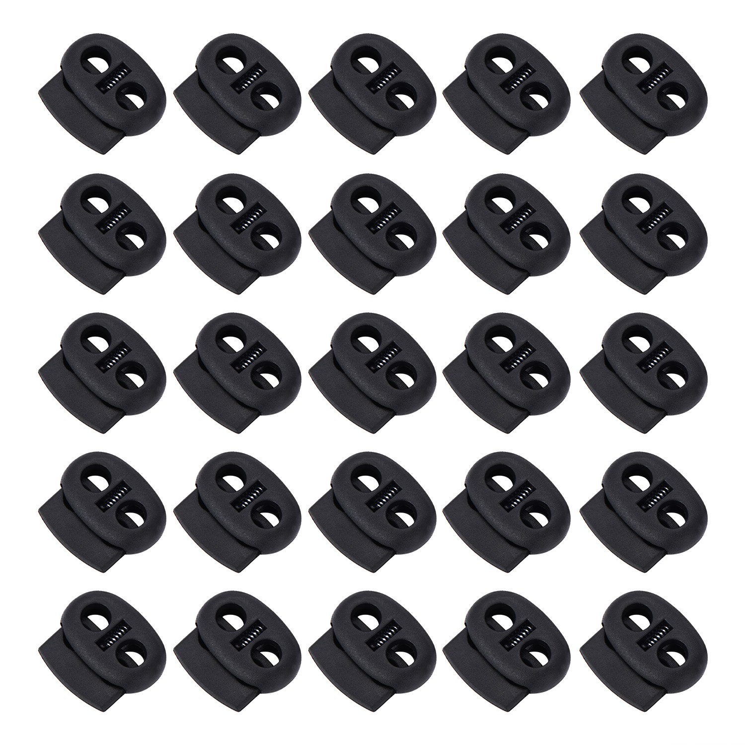 BBTO 50 Pieces Spring Cord Locks Double Holes Toggle Stoppers Sliders Oval Cord End Fastener, Black
