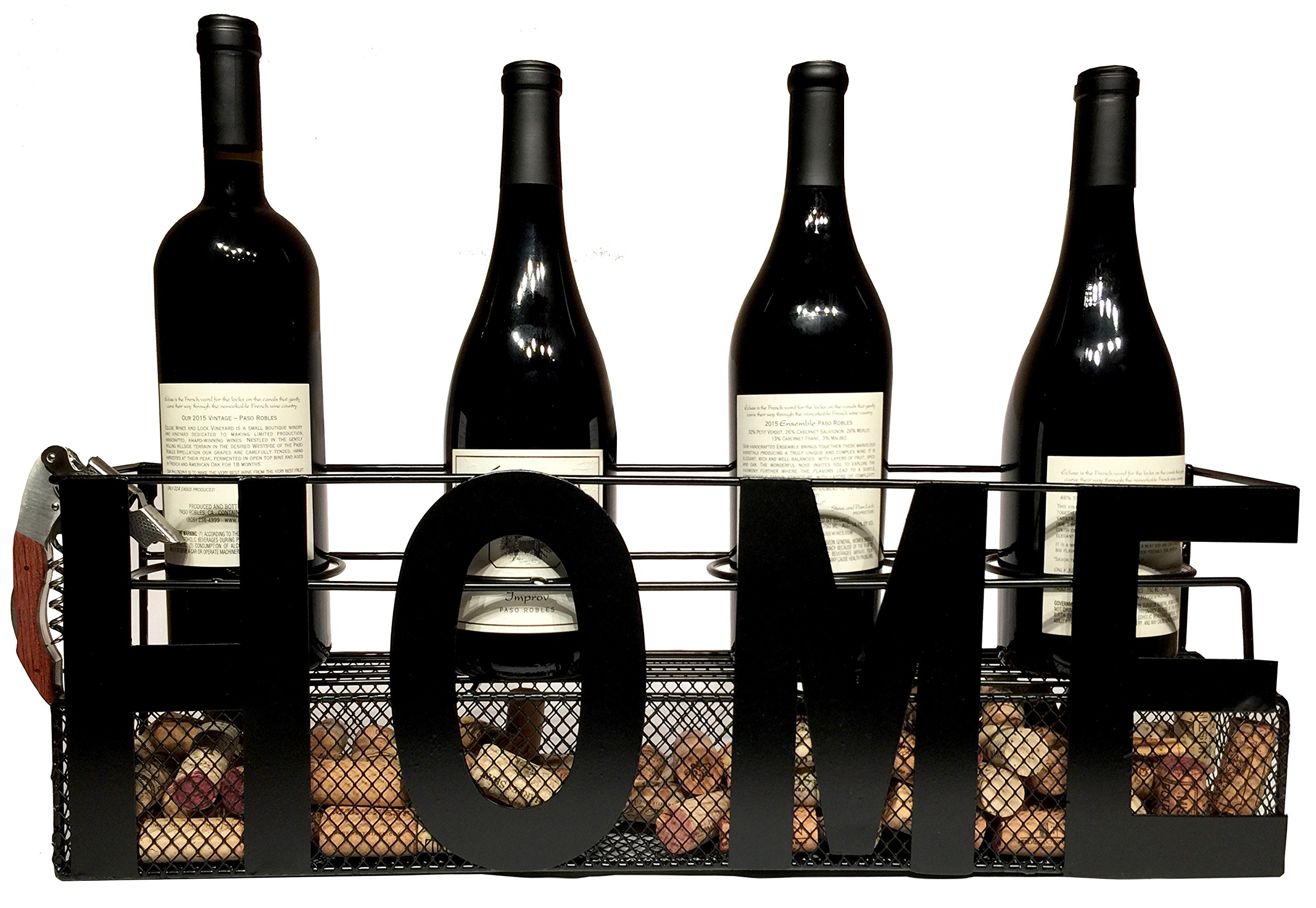 Home Wine Rack Wall Mounted Hanging or Counter Table Top with Wine Cork Holder Holds 4 Bottles and 4 Wine Glasses - Comes with Paso Barrel and Bottle Gift Box! (Home Wall or Counter No Glass Holders)