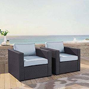 Crosley Furniture KO70103BR-MI Biscayne 2-Piece Outdoor Wicker Conversation Set, Brown with Mist Cushions