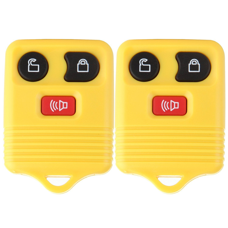 ECCPP New 2PCS Replacement Keyless Remote Car Truck Key Fob Shell Case Button Pad for CWTWB1U212 CWTWB1U331 GQ43VT11T (yellow-3btn-2X)