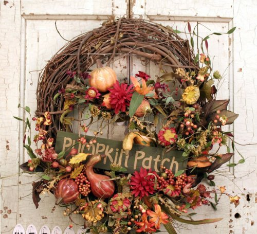 Pumpkin Fall Harvest Country Wreath