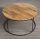 SMETA approved factory Teak Wood Round Coffee Table , Blue powder coating , Metal table