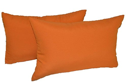 "Set of 2 Indoor / Outdoor Decorative Lumbar / Rectangle Pillows - Elegant Solid Mandarin Orange Fabric - Choose Size (11"" x 19"")"