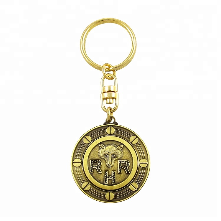 Custom made stamped bronze coin keychain for promotion
