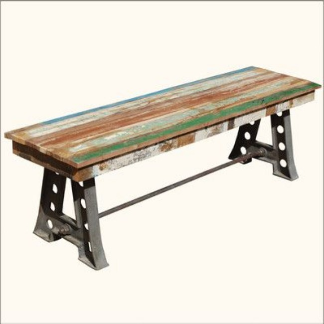 Stupendous Industrial Vintage Cast Iron Metal Reclaimed Wood Patio Bench Buy Wrought Iron Patio Benches Cast Iron And Wood Garden Bench Decorative Metal Short Links Chair Design For Home Short Linksinfo