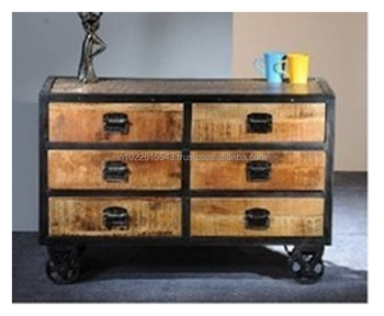 Industrial RECLAIMED WOOD Chest Of 6 DRAWER On Wheels