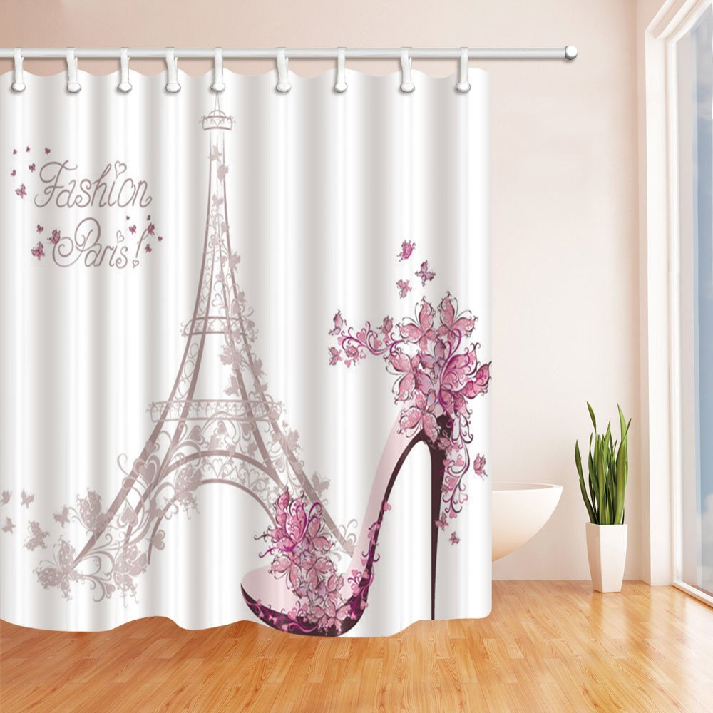 Get Quotations KOTOM Fashion Girl Decor Paris Eiffel Tower With High Heels Shower Curtains Polyester Fabric