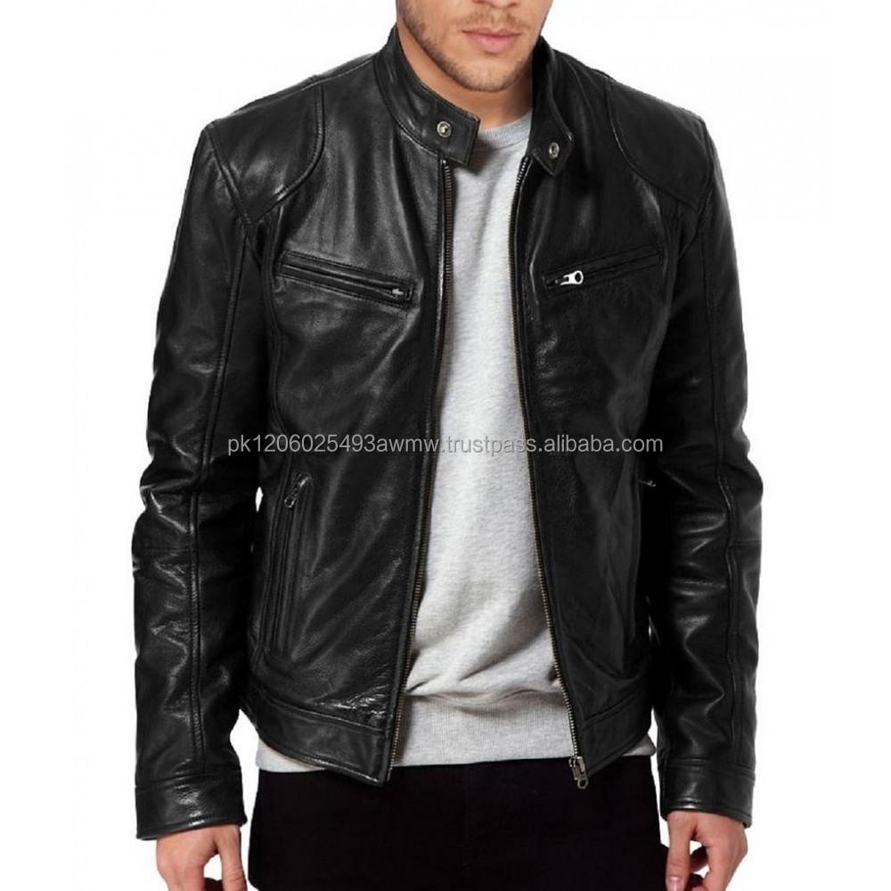 Genuine Leather Jacket Cheap Biker Black Genuine Sheepskin Leather