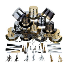 Super Neue Jahr der Eve Kit Party Set Papier Goild/Silber/Laser <span class=keywords><strong>Folie</strong></span> Hut/Horn/Tiaras /Streamer/Blowout