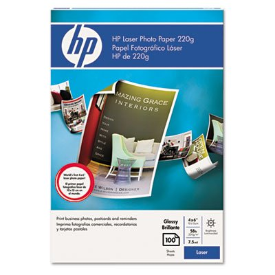 "Hewlett Packard - HP Color Laser Photo Paper, 7.5 mil, 220gsm, Glossy , 4""x 6"", 100 Sheets"