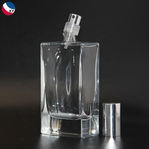 Rectangle 30ml 50ml 100ml glass clear perfume 50 ml bottle with spray pump