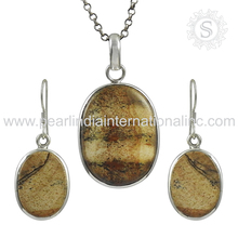 Delicate picture jasper gemstone jewelry set indian silver jewellery 925 sterling silver jewelry set