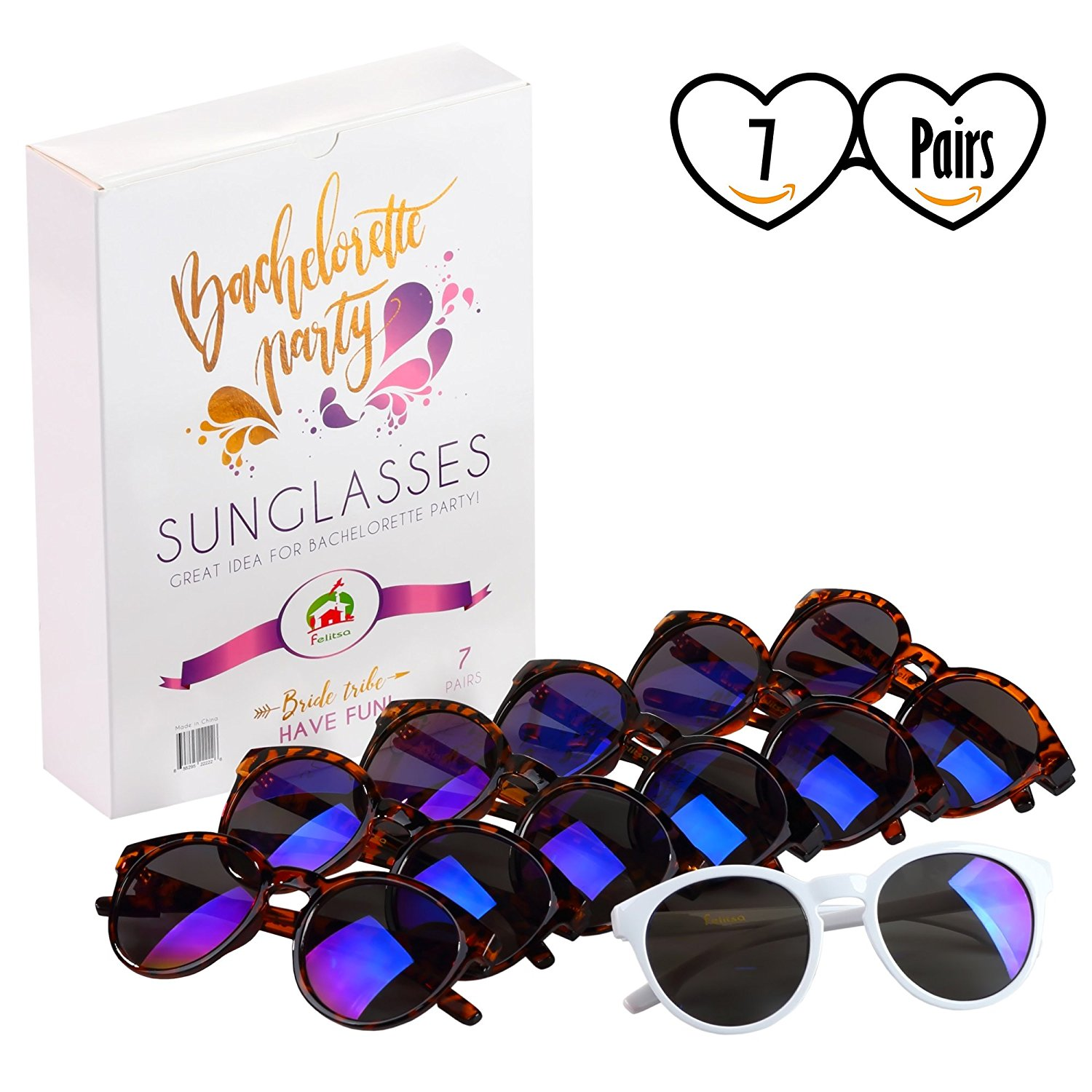 690df4affb15 Get Quotations · Felitsa Bachelorette Party Sunglasses - 7 Pairs of Bride  Tribe Glasses - Perfect for Bridesmaid Gifts