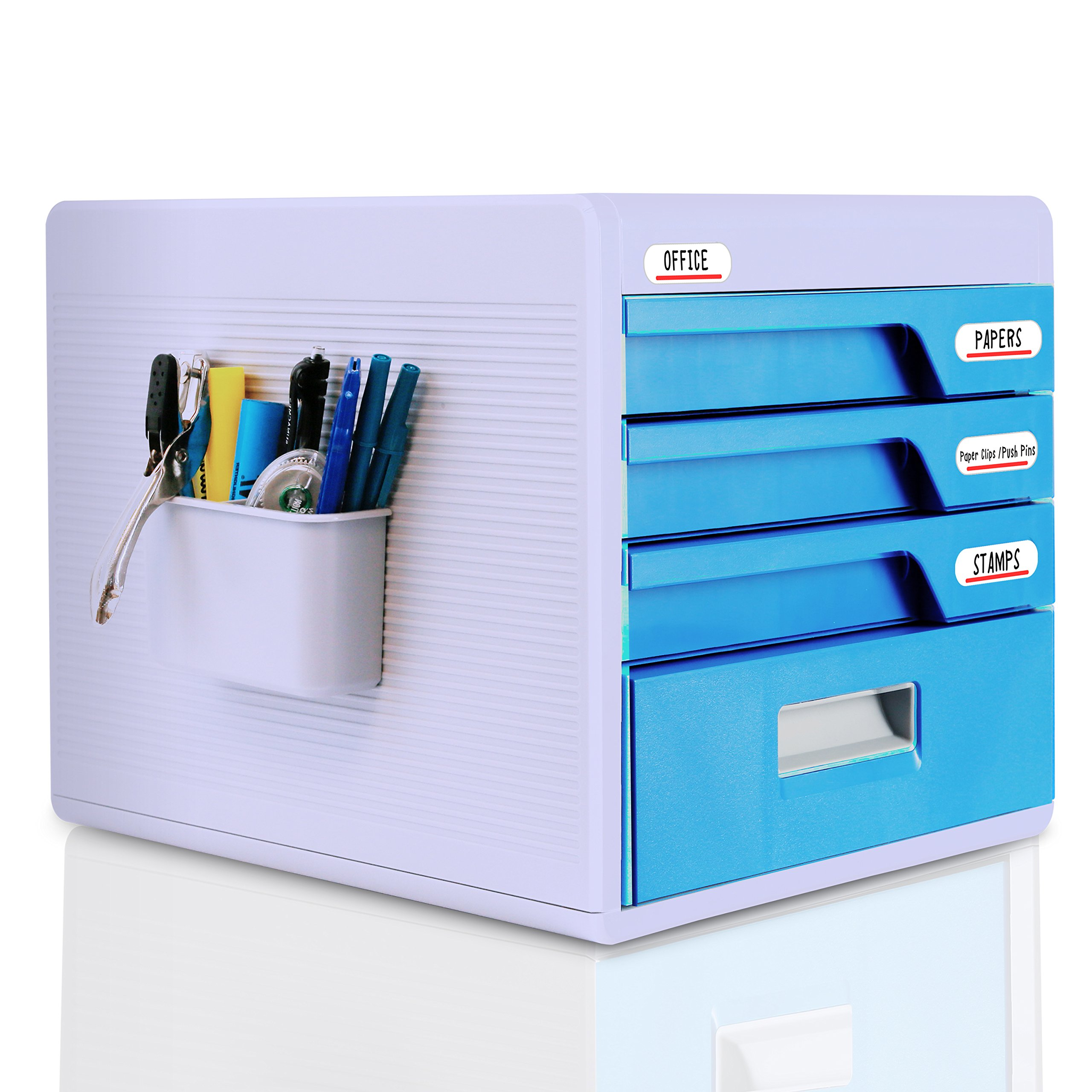 Locking Drawer Cabinet Desk Organizer - Home Office Desktop File Storage Box w/ 4 Lock Drawers, Great for Filing & Organizing Paper Documents, Tools, Kids Craft Supplies - SereneLife SLFCAB20