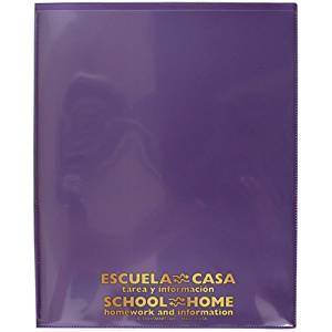 StoreSMART® - School / Home Folders - Metallic Purple - 50-Pack - Archival Durable Plastic - English/Spanish - Homework and Information - SH900SVSP-MP50