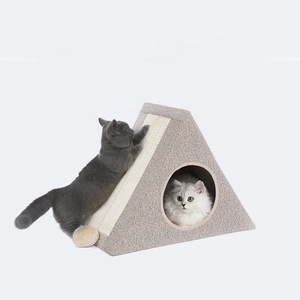 New Triangle Cat Scratcher 3 in 1 Cat Toy Bed Foldable Indoor Cardboard Cat House