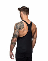 wholesale gym wear custom blank muscle sleeveless vest 95%cotton 5%spandex bodybuilding stringer gym tank top for men