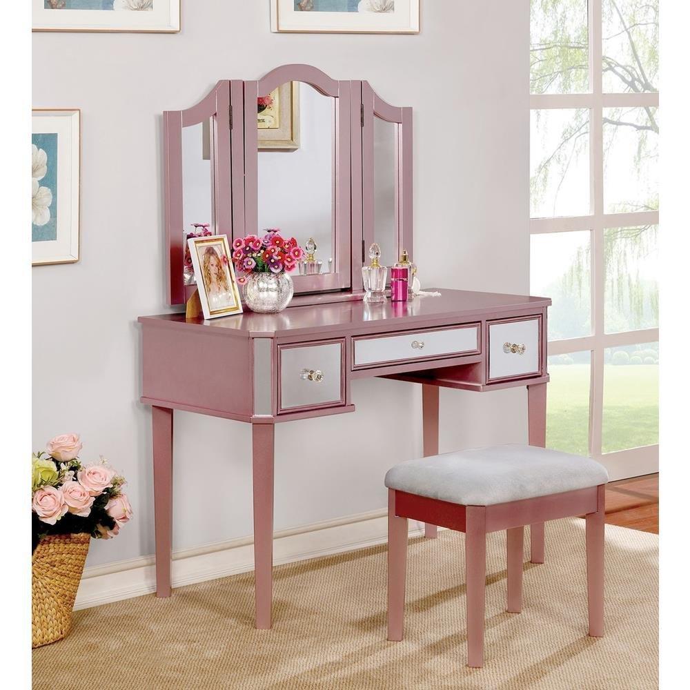 Hopton Girls Bedroom 3 Piece Set Vanity, Tri-Fold Mirror, Stool in Pink Wood