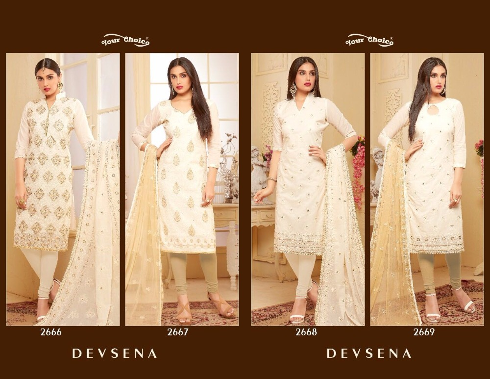 Your Choice Devsena Cotton Semi-Stitched Dress Material Partywear And Embroidered Collection For Indian Pakistani Women.