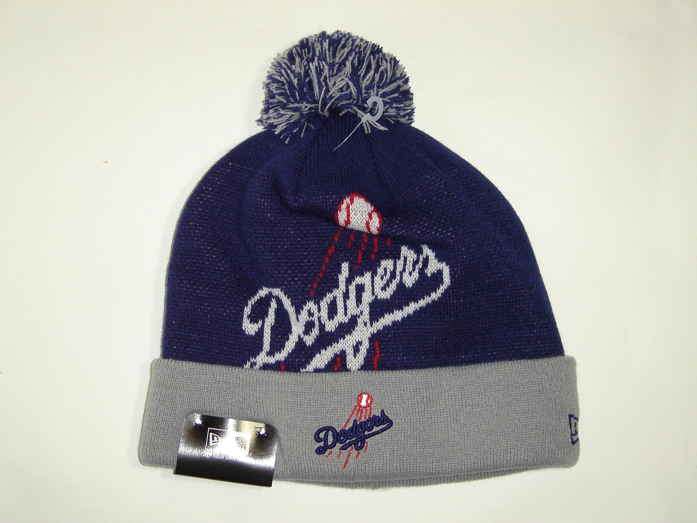 new arrivals 8d3ad 35f83 Get Quotations · New Era MLB Los Angeles Dodgers 2 Tone Logo Cuffed Knit  Beanie Cap with Pom NewEra