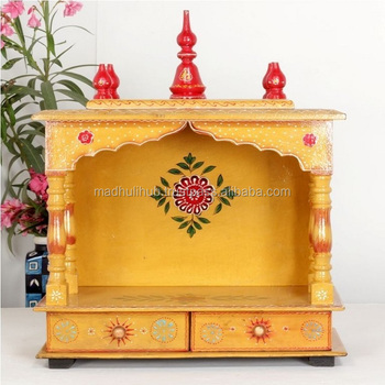 Indian Hindu Religious Home Decorative Colorful Wooden Temple Design