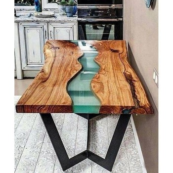 Indian Design Epoxy Resin River Wooden Dining Table Top And Metal Legs