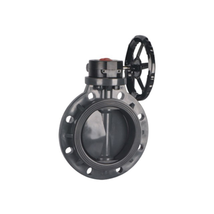 upvc pvc single lug type flange worm gear wafer butterfly valve