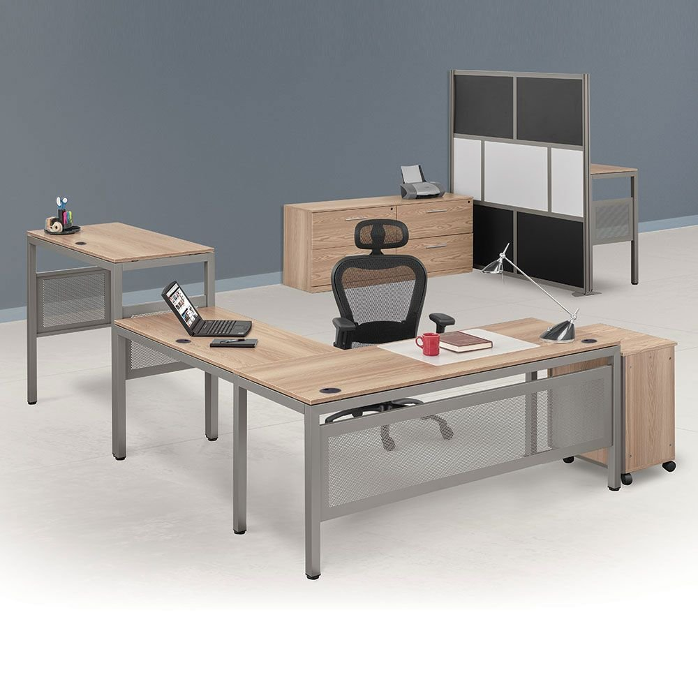 At Work Executive L-Desk Suite in Warm Ash Warm Ash Laminate Surface/Brushed Nickel Frame Weight: 538 lbs.