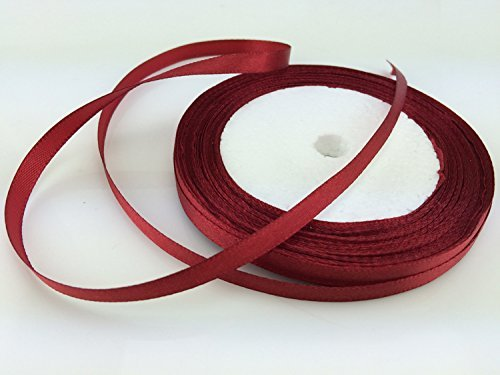 "Solid Color Satin Ribbon 1/4"",25yds (dark red)"