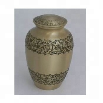 Brass Classic cremation urn with engraving