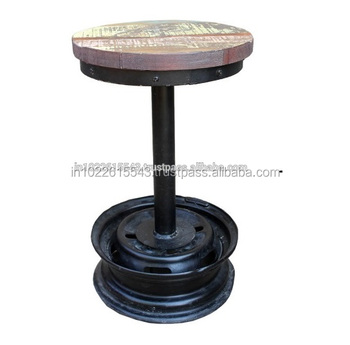 Amazing Industrial Vintage Metal Bar Stool With Reclaimed Wood Top Vintage Iron Tyre Rim Bar Stool With Wooden Seat Buy Antique Metal Industrial Bar Inzonedesignstudio Interior Chair Design Inzonedesignstudiocom