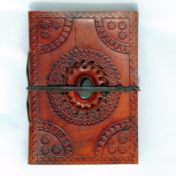 Embossed leather stone handmade page indian diary unlined journal not book with strap