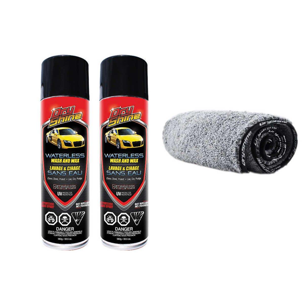 Dry Shine Waterless Car Wash and Wax, 2-pack + 2-in-1 Microfiber Towel Kit