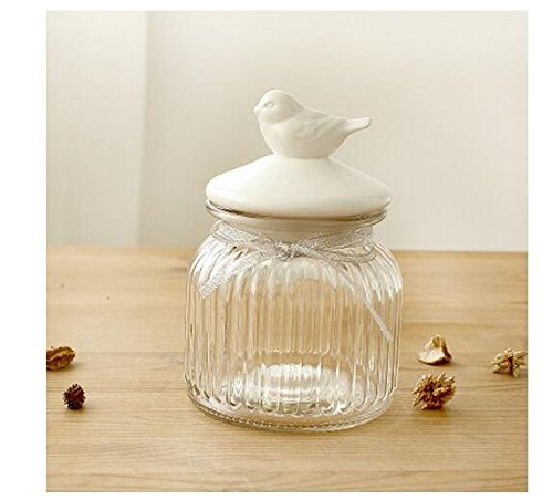 Get Quotations · (Bird   Small) Glass Food Storage Canister Kitchen Storage  Jar With Ceramic Airtight Lid