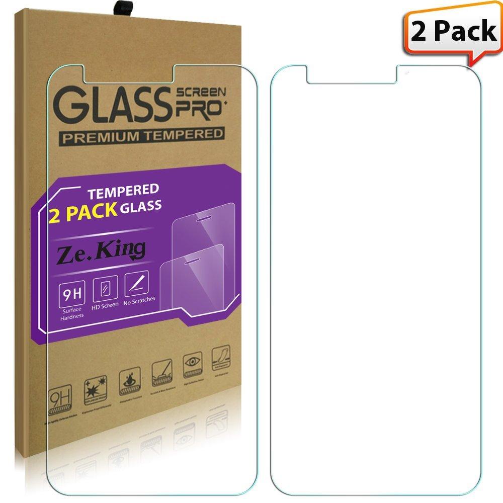 [2-Pack]ZTE Sequoia Tempered Glass, ZTE Z982 Screen Protector, ZTE Blade ZMax Pro 2 Case, ZeKing 0.33mm 2.5D Edge 9H Hardness [Anti Scratch][Anti-Fingerprint], Lifetime Replacement Warranty