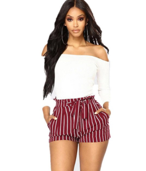 Women's Ladies Fashion Casual Shorts High Waisted Striped Tie Short Mini Slim Shorts Hot Navy Blue Red Black