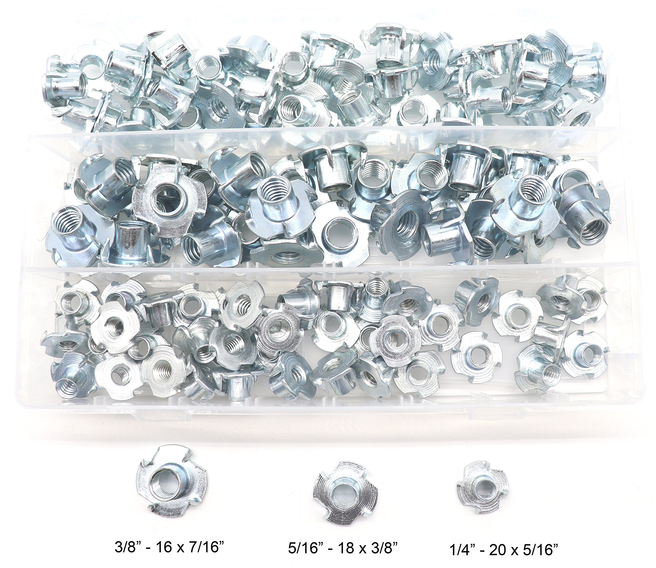 Carbon Steel T-Nuts Zinc Plated 5//16-18 3//8-16 4 Pronged Tee Nut Assortment Kit 5//16-18 binifiMux 105 Pack 1//4-20 3//8-16 4 Pronged Tee Nut Assortment Kit