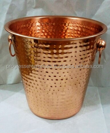 Copper Bucket with Brass Handles