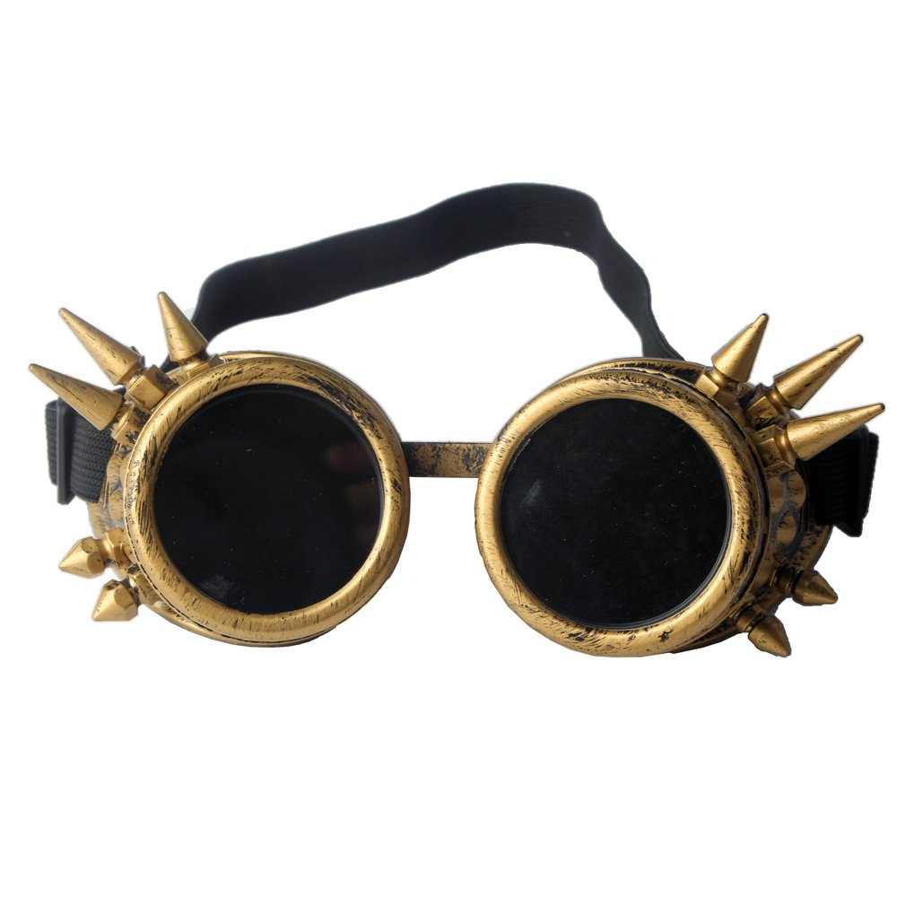 2cb5b619bbf7 Get Quotations · STLY Steampunk Goggles Tinted Rave Eyes Gothic Welder  Cyber Punk Glasses Rivet Yellow Frames