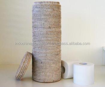 White Color Wicker Rattan Toilet Paper