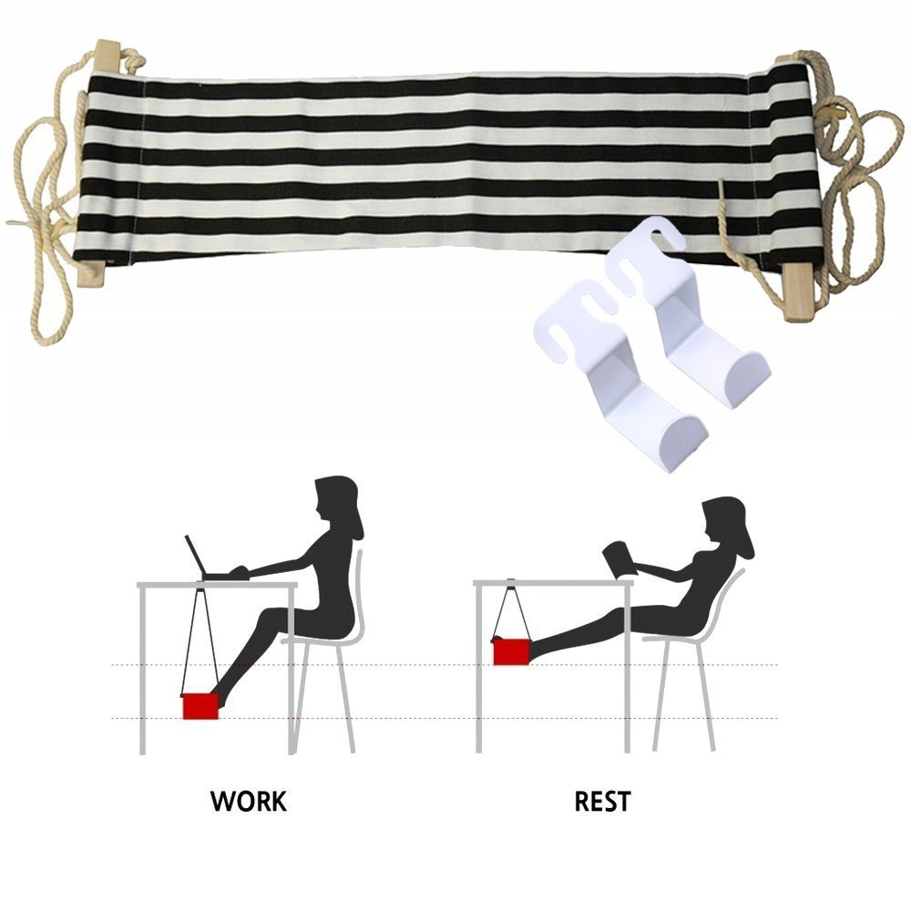 "Foot Hammock , WCIC Portable Office Desk Feet Rest Stand Easy to Disassemble 25.59"" x 6.69"" Black&White Stripe"