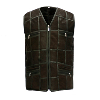 New Men's Cheap Black Shearling Waistcoats Sheepskin Leather Real Fur Vest