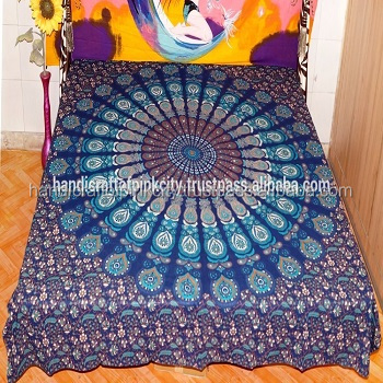 Blue Color Indian Hippie Mandala Duvet Cover Queen Decorative Throw Cotton Doona Cover Bohemian Reversible Quilt Cover SSTH54