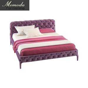 BE616 Purple button tufted concise modern velvet bed modern European high end modern purple bed