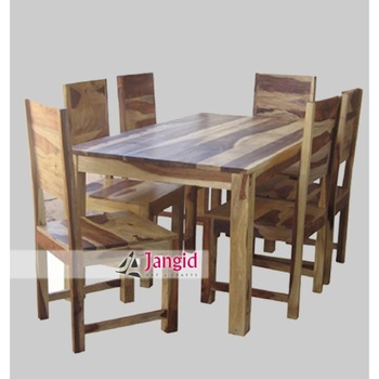 Natural Indian Sheesham 6 Seaters Wooden Dining Tables And With Chairs Set Designs
