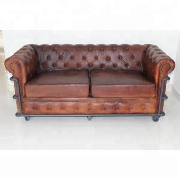 Vintage Solid Wood Genuine Leather 3 Seater Living Room Sofa Executive European