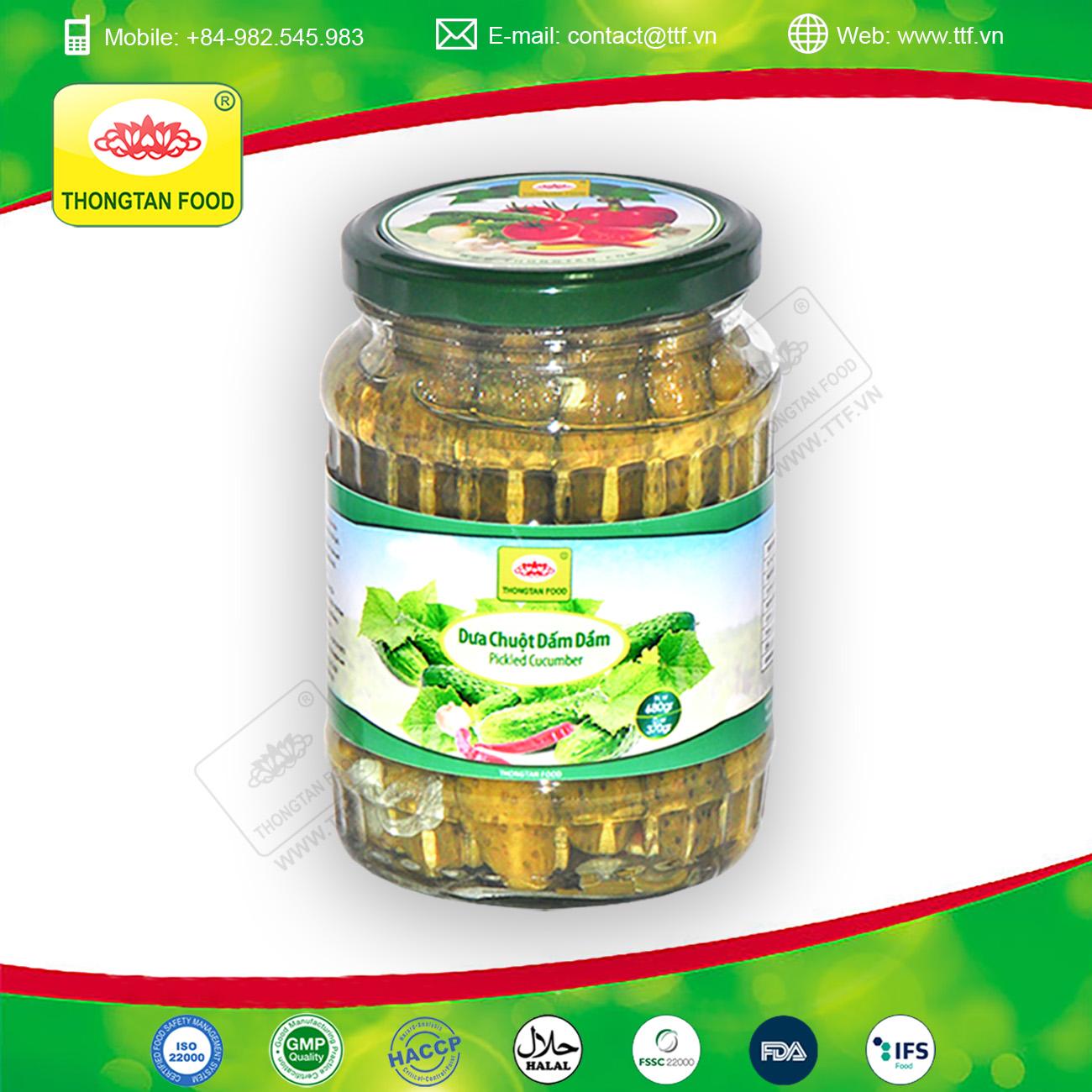 High quality pickled cucumbers in glass jar
